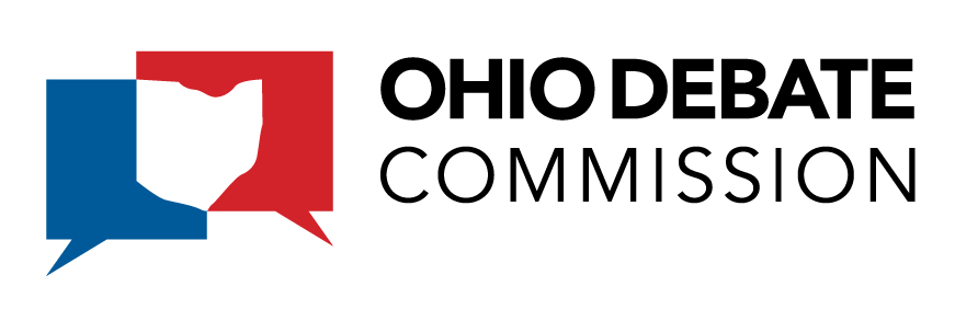 "Blue comment bubble on the left, red comment bubble on the right, with overlapping parts forming the shape of the state of Ohio and the words ""Ohio Debate Commission"" in all caps to the right of the image"